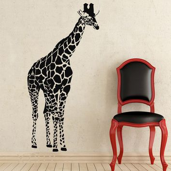 Giraffe African Animals Jungle Safari Wall Decals Tropical Vinyl Sticker Living Room Decor Baby Kids Nursery Home Mural Stencil