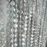 3 ft x 6 ft Iridescent Faux Crystal Beaded Curtain - Clear