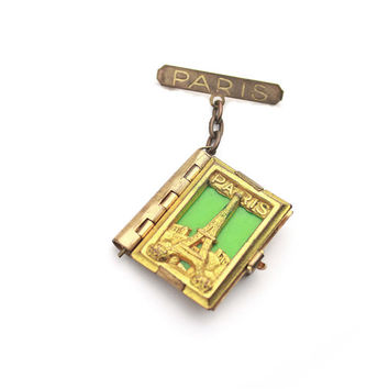 Antique Depose Paris Locket Brooch / French Locket Jewelry / 1900s Brooch Pin / Eiffel Tower