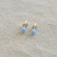 opal earring,sterling silver stud earring  20G opal wedding earring