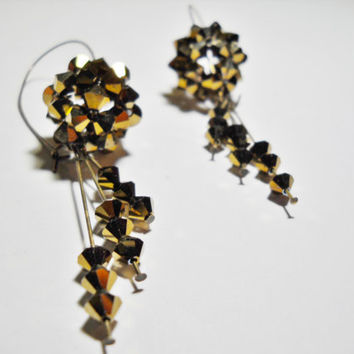 Beaded bead - Swarovski earrings and fringes - Gold and bronze
