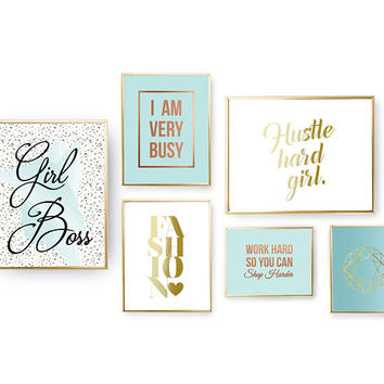 SET of 6 Prints, Fashion Quote, Boss Lady, Home Decor, Girl Boss Set, Hustle Hard Girl, Funny Wall Art, Gold Foil Print, Crystal Poster