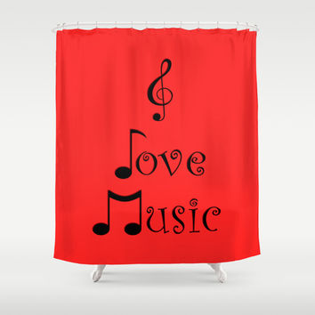 I Love Music - Retro Red Shower Curtain by Moonshine Paradise