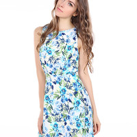 Blue Sleeveless Floral Printed Dress with Keyhole Back