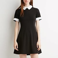 Contrast-Collared Dress
