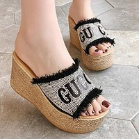 GUCCI Trending Women Casual Stylish Rhinestone Thick Soles High Heels Sandals Slippers Black