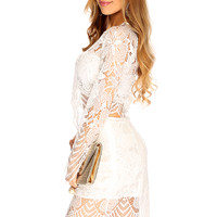 White Floral Eyelash Lace Sexy 2 Piece Party Dress
