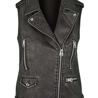 Sleeveless Faux Leather Biker Jacket