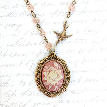Pink Cameo Necklace Ivory and Pink Rose Pendant Rose Necklace Bird Charm Pink Glass Beaded Chain Romantic Vintage Style Jewellery