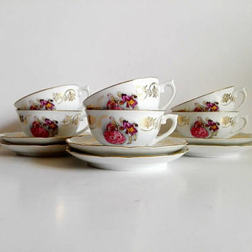 French porcelain, Shabby French, set of 6, Set cups and saucers, Coffee set, vintage cup, coffee set, tea cups, coffee, tea, french vintage