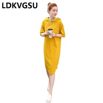 Hoodies Dress Female Yellow 2018 Spring Summer New Hooded Long Sweatershirt Preppy Style Casual Loose Sweatershirt Dress Is721