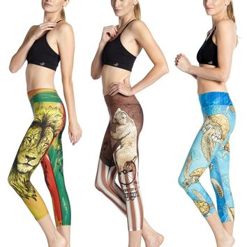 Kawaii Yellow Sea Turtle Yoga Workout Capri Leggings Brazilian Lion Fitness Running Tights Stretchy Slim Womens Cropped Trousers