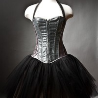 Custom Size silver and black Burlesque sequin tutu corset prom dress