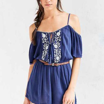 BOG Collective Embroidered Cold-Shoulder Romper