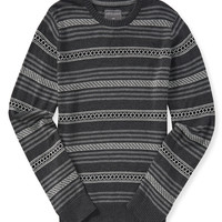 Aeropostale  Mens Fair Isle Crew Neck Sweater - Gray, X-Small