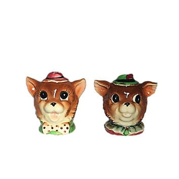 Vintage Cat Heads Salt and Pepper Shakers, Character Salt and Pepper Shakers, Made in Japan