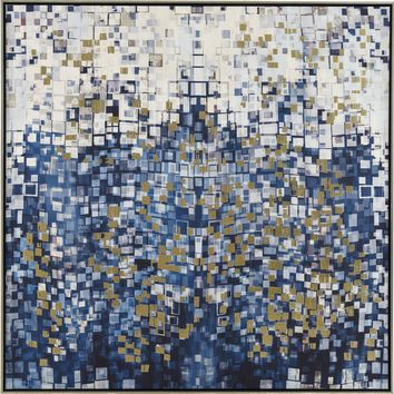 Blue Pixels Contemporary Modern Blue
