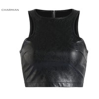 Charmian Women's Sexy Black Leather Punk Crop Top Sexy Summer Wet Look Floral Tank Top Sleeveless Casual Club Wear Short Top