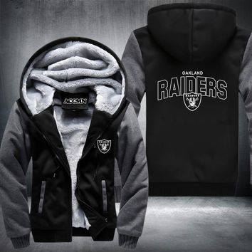 USA size Raiders Football Team Men Women Thicken Fleece Zipper Hoodie Jacket Clothing Casual Coat