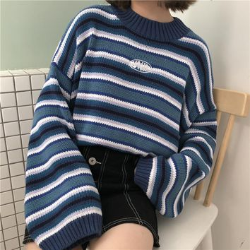 Female Korean Harajuku Clothing For Women Loose Wild Striped Student Sweater  Women s Sweaters Kawaii Ulzzang Pullover b850c4c92