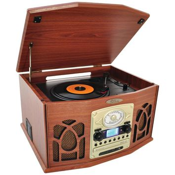PYLE HOME PTCDS7UBTBW Bluetooth(R) Retro Vintage Classic Style Turntable Vinyl Record Players with Vinyl-to-MP3 Recording (Wood)