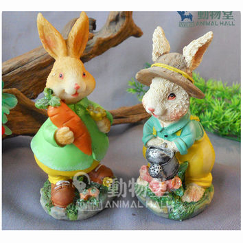 Resin Crafts Home Holiday Decoration Gift Easter Bunny Christmas White Mr. Rabbit Two Style