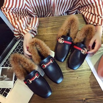 Women Fashion All-match Stripe Webbing G Letter Keep Warm Rabbit Hair Square-toe Leather Shoes Loafer Flats Shoes