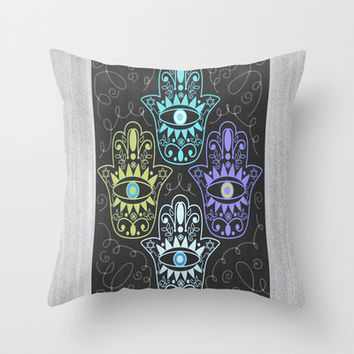Hamsa Chalk Throw Pillow by Nina May