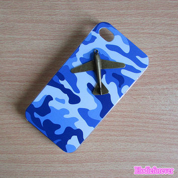 Blue Army Camo Camouflage iPhone 4 case,iphone 4s cover, hard plastic iphone 4 case,cool iphone 4s case, Airplane iPhone 4 case D004