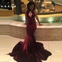 Burgundy Velvet Prom Dresses 2017 Black Girl Sexy Mermaid Prom Evening Gowns Cut Out Cheap Ballkleider Lang