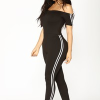 Stay Chill Jumpsuit - Black/White