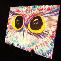 Owl Painting, Original Art for Modern Home Decor, Canvas