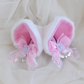 White and pink - clip on cat ears with lace and ribbon bows and earring - neko lolita cosplay costume - kitten play accessories