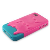 Melt Ice Cream Detachable Hard Case for iPhone 4S/iPhone 4 (Rose+Green)