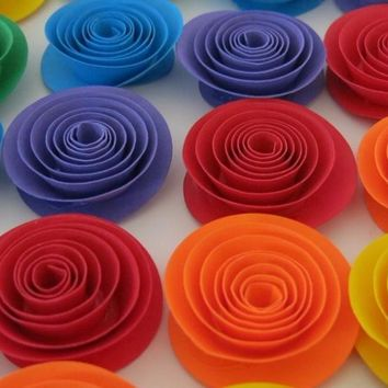 """Bright rainbow flowers set, 12 1.5"""" paper roses carnival party theme decorations, gay and lesbian wedding table decor, baby shower art"""