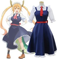 Anime Kobayashi san Chi no Maid Dragon Cosplay Costumes Miss Kobayashi's Dragon Maid Tooru Full Set Meidofuku Dress