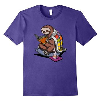 Sloth Book Reading Lover Funny Cute Geek T-Shirt