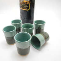 Shot Glass Set - Handmade Pottery Turquoise and Team - Dead Sea Design