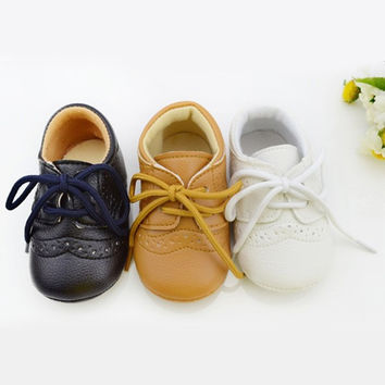 Lace-Up Leather Baby Shoes
