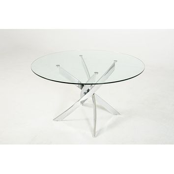 """Galaxy 51"""" Glass Dining Table with Chrome Base"""