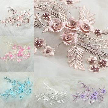 1PC 34*25CM Embroidered Stereo Lace Flowers Trim Nail Beaded Rhinestones Applique For DIY Sewing Wedding Dress