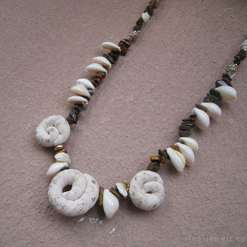 Beach jewelry Sea shell necklace Long beach necklace Sea jewelry Long seashell necklace ivory and brown Polymer clay and tiger eye