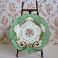 1950s Royal Worcester Gold Green Plate Handpainted Gilt Decorative Cabinet 50s Bone China Made in England Plate