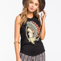 Riot Society Headdress Womens Muscle Tank Black  In Sizes