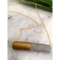 Handmade Grey Marbled tube Gold Painted Polymer Clay Necklace