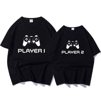 Couple Pair T-shirts Player 1 Player 2 Video Game Tee