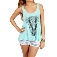 Mint/Black Elephant Tank