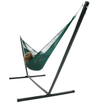 Sunnydaze Decor Green Double Mayan Hammock with Stand