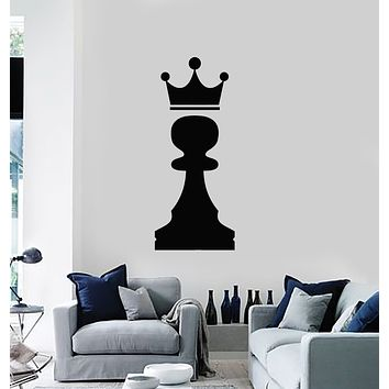 Vinyl Wall Decal Crown Chess Piece Club Intellectual Game Stickers Mural (g1030)