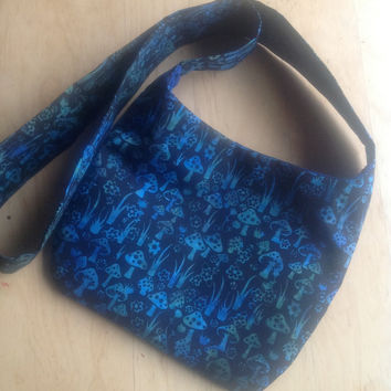 Hippie Boho Hobo Bag in Blue Mushrooms